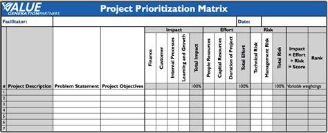 project prioritization criteria template 27 images of prioritization matrix template excel