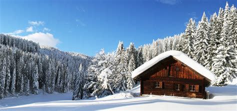 nature forest winter snow panorama house sky clouds relax