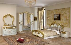 Schlafzimmer Weiß Gold : schlafzimmer rozza in wei gold klassisch 160x200 cm barock rozz set gold ~ Indierocktalk.com Haus und Dekorationen