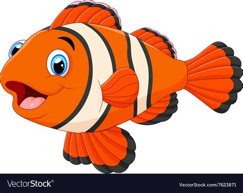 Cute Clown Fish Cartoon Royalty Free Vector Image