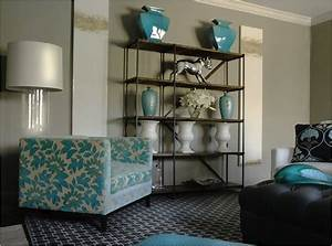 Turquoise accents design ideas for Grey and turquoise living room
