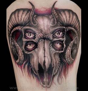 Grey Ink Goat Skull Tattoos Design