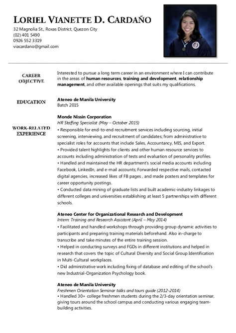 resume sle for business administration graduate