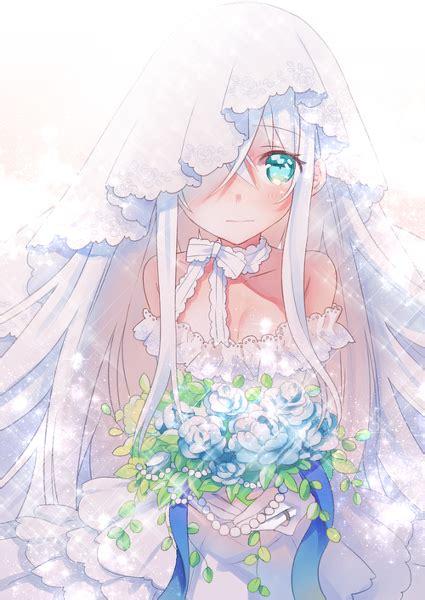 cute anime girl wedding dress flowers blushing