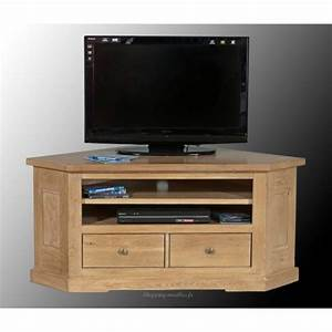 Meuble Angle Tv : meuble tv d 39 angle ch ne massif collioure ~ Teatrodelosmanantiales.com Idées de Décoration