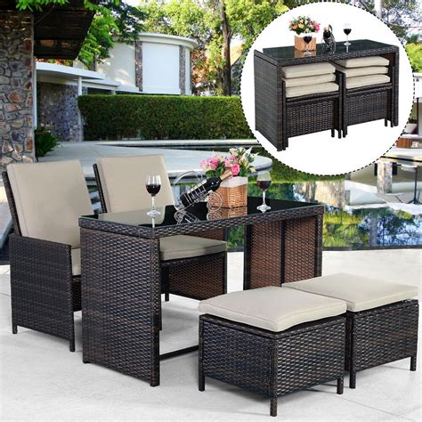 The site has everything from fire pits. New 5PCS Brown Cushioned Ottoman Rattan Patio Set Outdoor Furniture Garden 6952938325271 | eBay