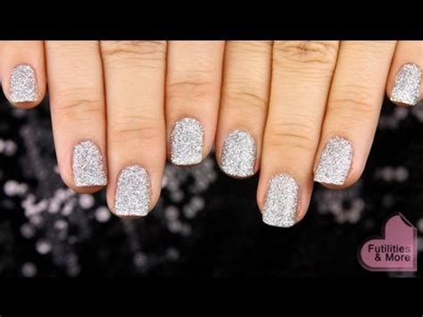 party silver glitter nails   years eve manicure
