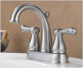 delta 2575lf ss leland two handle centerset bathroom faucet stainless touch on bathroom sink