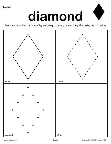 diamond worksheet color trace connect draw supplyme