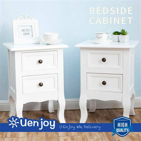 End Tables For Bedroom by Set Of 2 White Nightstand Side End Table Shabby Bedroom