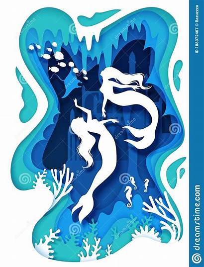 Paper Cartoon Underwater Coral Reef Castle Mermaids