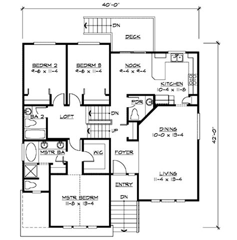 split level floor plan split level home plan for narrow lot 23444jd 1st floor