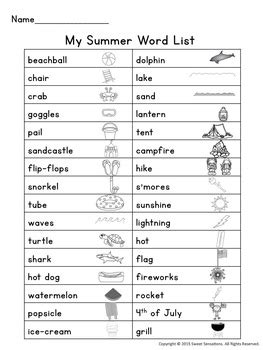 summer vocabulary words beach camping  july grill