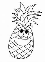 Pineapple Coloring Pages Cartoon Fruit Fruits Apple Pine Printable Preschool Template Preschoolactivities Printables Crafts Drawing Kindergarten Worksheets Patterns Colouring Sheets sketch template