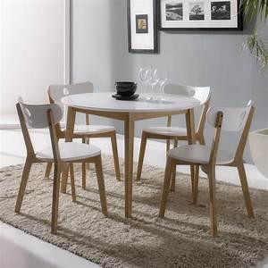 Chaise Table A Manger : ensemble table de salle manger ronde et 4 chaises en bois hida kaligrafik inspiration salle ~ Teatrodelosmanantiales.com Idées de Décoration