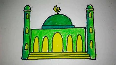 contoh gambar cara mewarnai masjid yang bagus