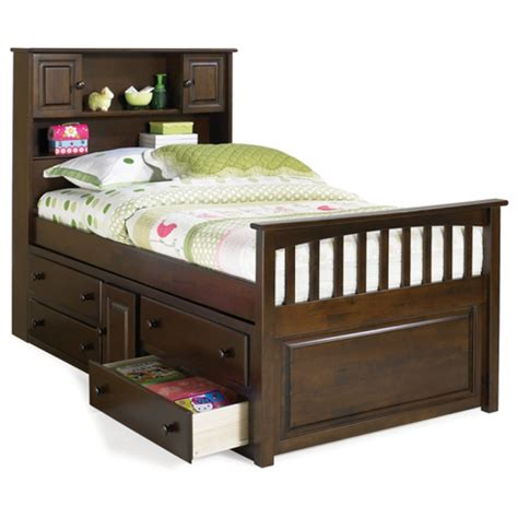 storage bed brahn cecs twin captains bed with bookcase