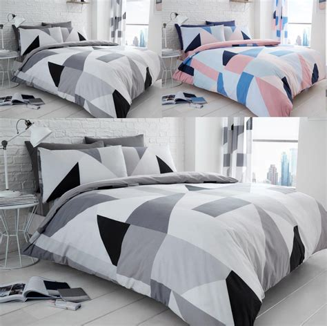 Sydney Check Triangle Duvet Quilt Cover Polycotton Printed