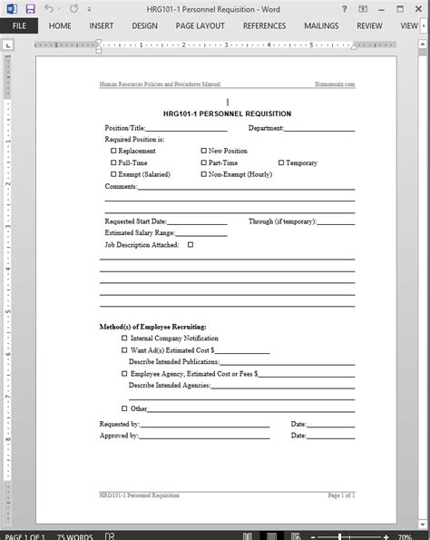 personnel form template personnel requisition template
