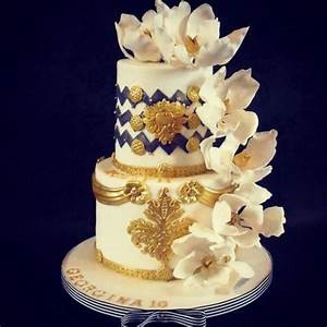 2 Tier Blue, White And Gold Birthday Cake - CakeCentral com