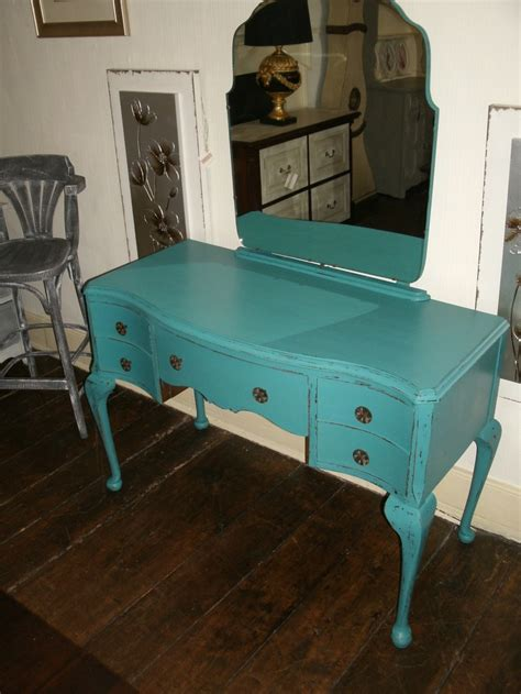 blue table ls bedroom kneehole painted dressing table painted in peacock blue