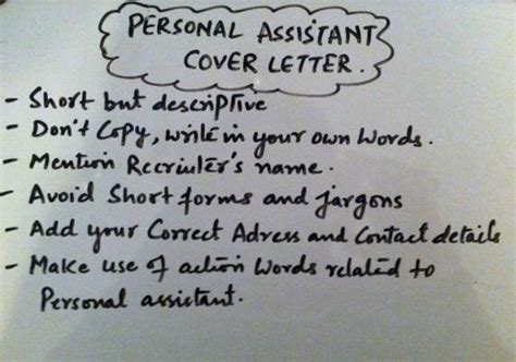 writing  personal assistant cover letter coverletter