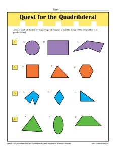 grade math worksheets find  quadrilaterals
