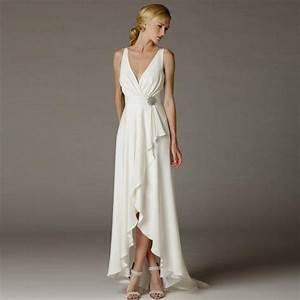 Greek Wedding Dress Beach Simple Deep V neck Empire Waist ...