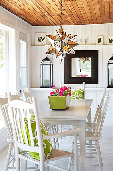 plank ceiling cottage dining room laura hay decor design