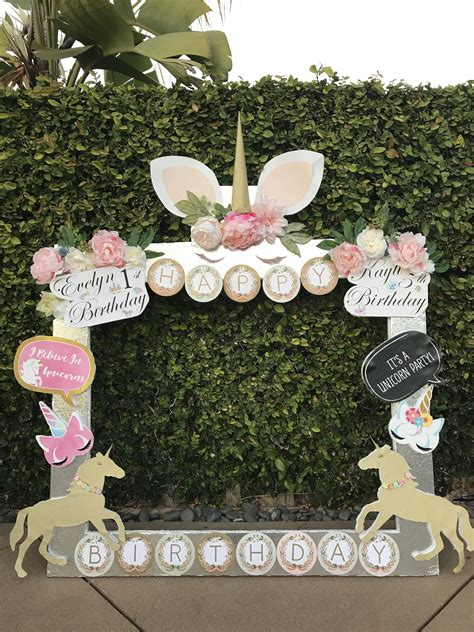 Unicorn Garden Decoration by Kayli Unicorn Garden Birthday Picture Frame