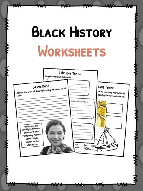 black history facts worksheets black history month