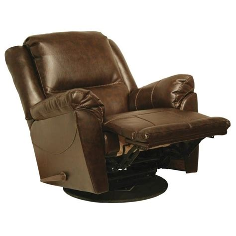 catnapper maverick leather swivel glider recliner chair in