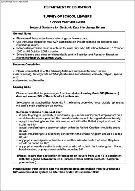 school leaver resume template free sles exles