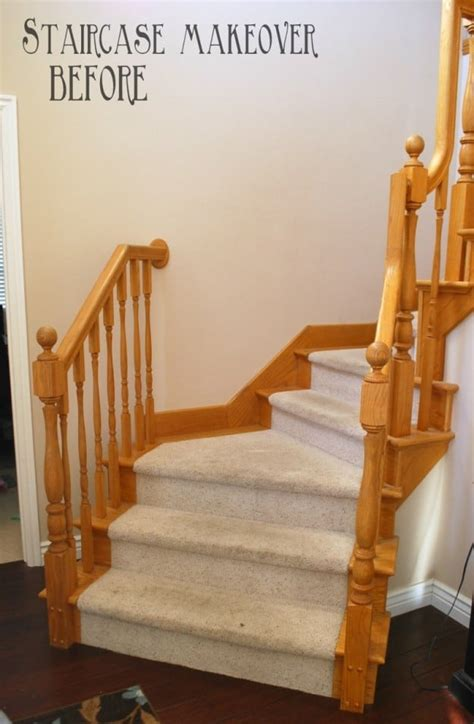 oak banister makeover diy staircase makeover with stain and paint