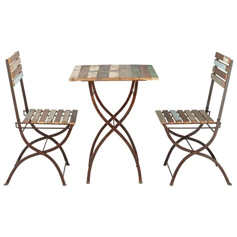 set table et chaises recycled wood and metal garden table 2 chairs in