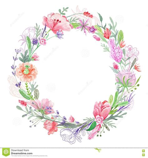 romantic floral wreath frame stock illustration image