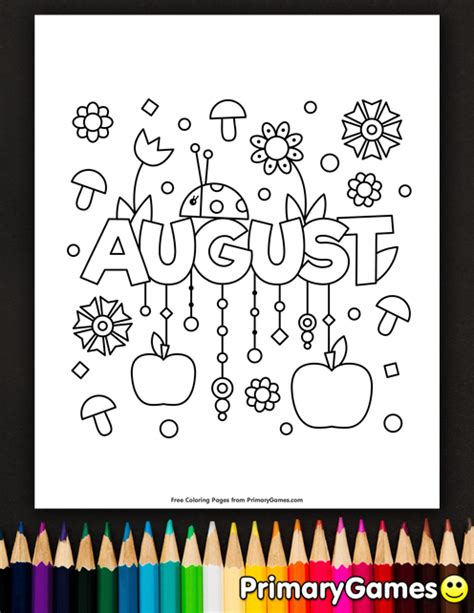 summer coloring pages  august coloring pages