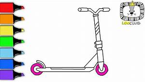 How to Draw Kick Scooter. Learning Coloring Pages for Kids ...