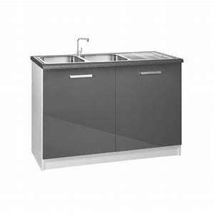 Meuble Sous Evier 120 : meuble de cuisine 2 portes sous vier 120 cm tara laqu ~ Nature-et-papiers.com Idées de Décoration