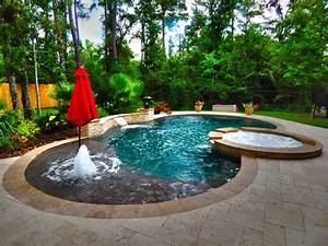 Curved Pool with Fountain and Pergola - Contemporary
