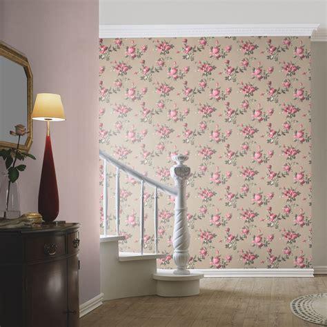 blumen für schlafzimmer emilia blumen tapete gold pink rasch 502138