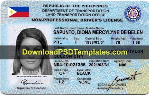 philippines drivers license template psd
