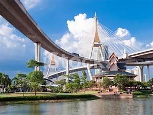 Bhumibol Bridge IN Thailand Stock Photos