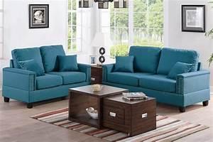 Arri blue fabric sofa and loveseat set steal a sofa for Sofa bed and loveseat set