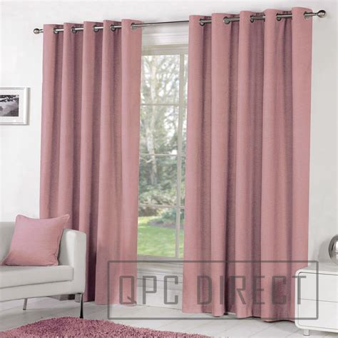 Pink Curtains by Pair Of Plain Dyed 100 Cotton Eyelet Ring Top Lined