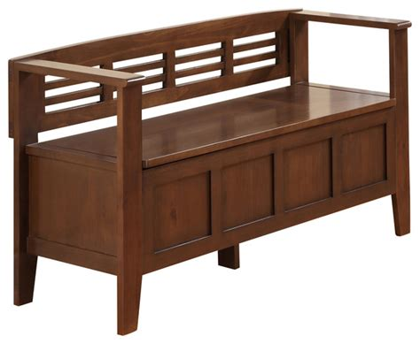 Storage Bench 40 Inches Wide by 48 Inch Wide Entryway Bench In Medium Rustic Brown