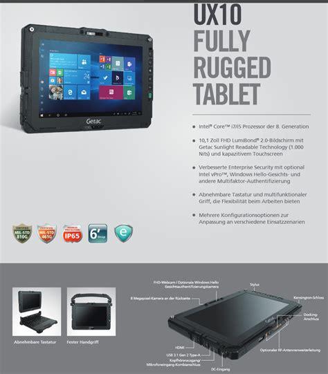getac ux robustes  zoll tablet mit windows  pro und