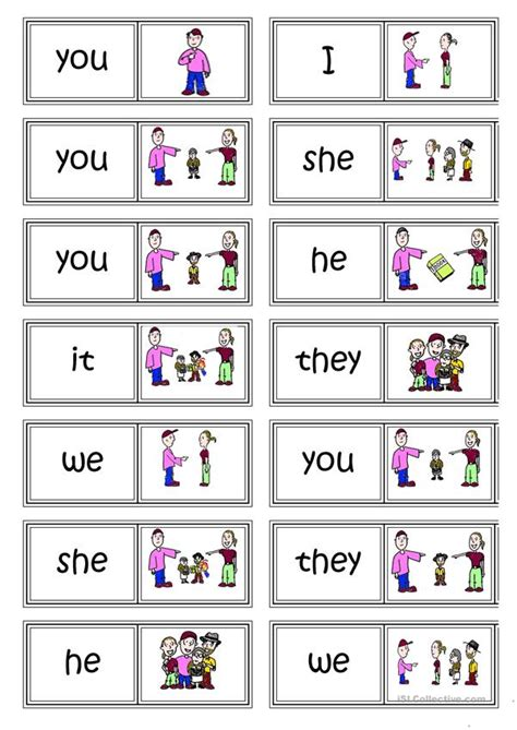 Subject Pronouns Domino Worksheet  Free Esl Printable Worksheets Made By Teachers