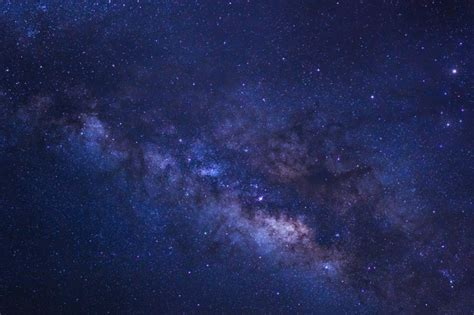 Starry Night Sky And Milky Way Galaxy With Stars And Space