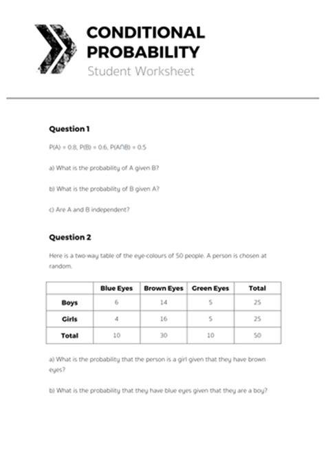 Worksheet Conditional Probability Worksheet Hunterhq Free Printables Worksheets For Students